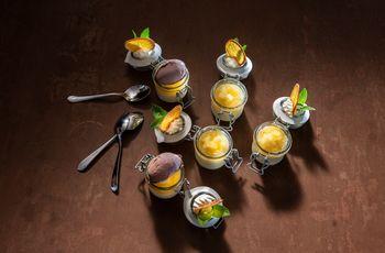 Various dessert creations in glasses - Restaurant Hotel Elisabeth ©Rupert Mühlbacher (GA-Service)
