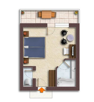"Floor plan for the ""Deluxe"" room category"